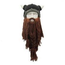 2019 Hirigin Brand Knit Viking Beard Horn Hat Crazy Ski Cap Barbarian Beanie Halloween UK цены