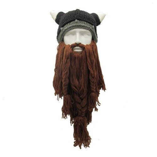 2019 Hirigin Brand Knit Viking Beard Horn Hat Crazy Ski Cap Barbarian Beanie  Halloween UK 23aefe1b7c7