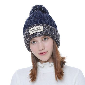 Knitted Women Beanies With Pompon Winter Female Beanie 2018 Casual Hats For  Ladies Warm Autumn Girls Skullies Caps Curled Letter a9575362e391
