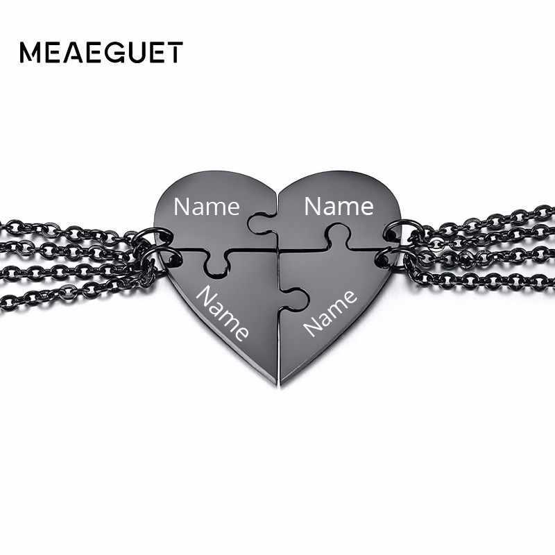 Darmowe grawerowanie spersonalizowana nazwa 4 sztuk Puzzle naszyjnik w kształcie serca kobiety mężczyźni wisiorek przyjaźń ze stali nierdzewnej biżuteria unisex