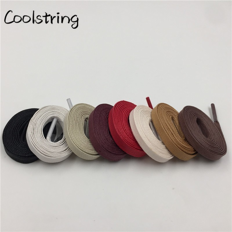 Coolstring Waxed Cotton Flat Shoe Laces Leather Waterproof Mens Martin Boots Shoelace Casual Dress Coloured Shoestring Unisex image