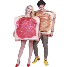 цена Funny Couple Jam Bread Costume Adult Food Cosplay Jumpsuit Halloween Costume For Adult Carnival Party Suit онлайн в 2017 году