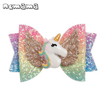 ncmama Hair Accessories Unicorn Bows for Girls Shiny Glitter Clips 3 Cartoon Wings Hairpins Handmade Kids Barrettes