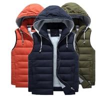 Free shipping winter plus size men's vest 4XL 7XL 8XL male loose cotton s man vest Outerwear & Coat with Hooded Hat Detachable