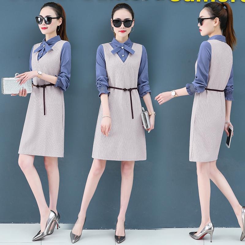 Render a dress in female new spring in the spring and autumn qiu dong fake two piece suit dress long 4