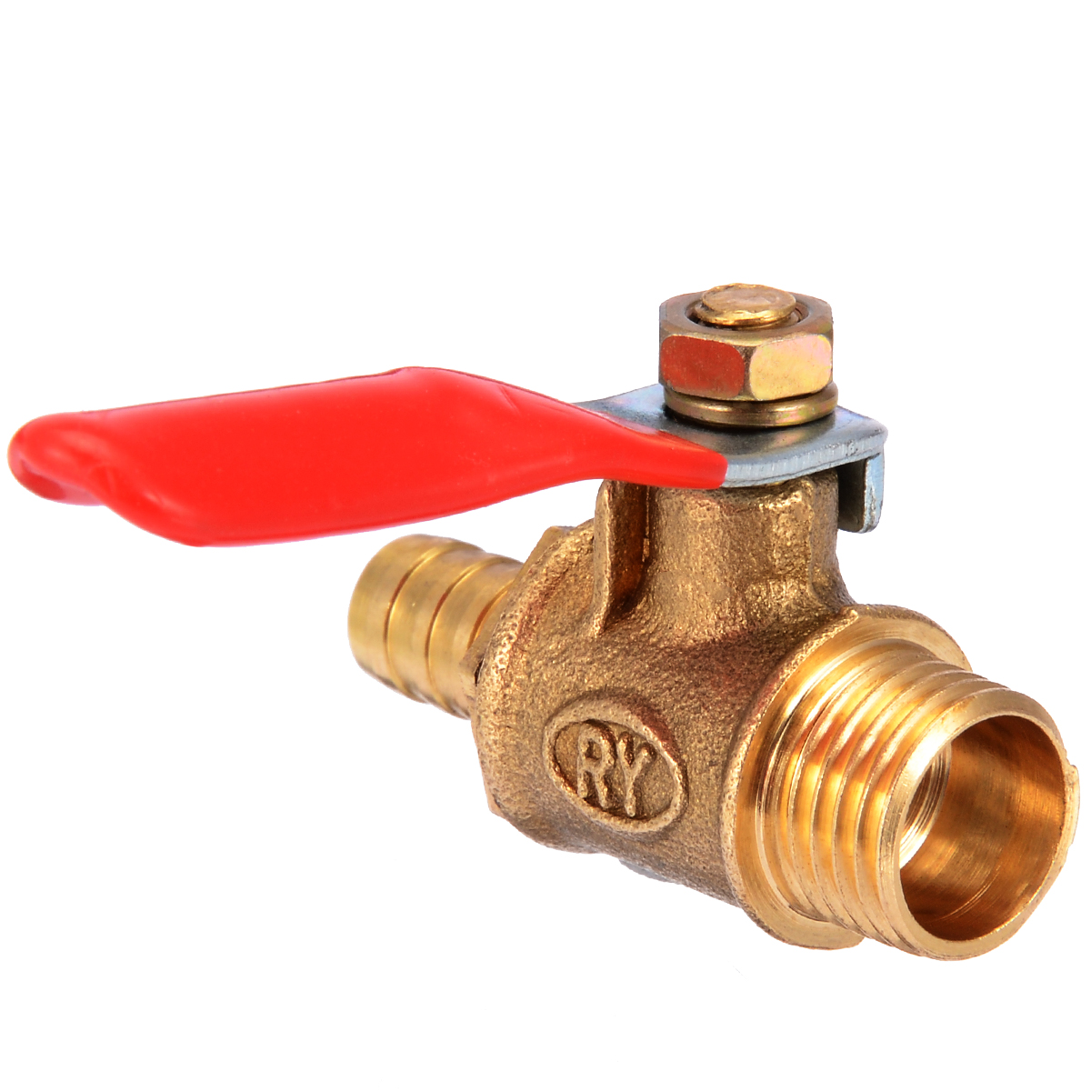 1/4 Inch Male Threaded Brass Ball Valve Barb Hose Metal Ball Valve With Red Lever Handle Home Improvement Tool