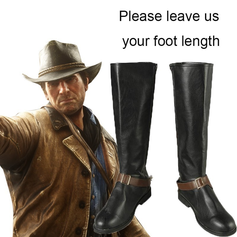 Red Dead Redemption Costume Authur Morgan Cosplay Shoes Game Boots Halloween Accessories Carnival Rockstar Leather Western Men
