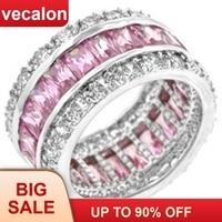 Vecalon Для женщин модное Ювелирное кольцо фианит aaaaa камень розовый камень Cz 925 пробы серебра женский Обручение обручальное кольцо