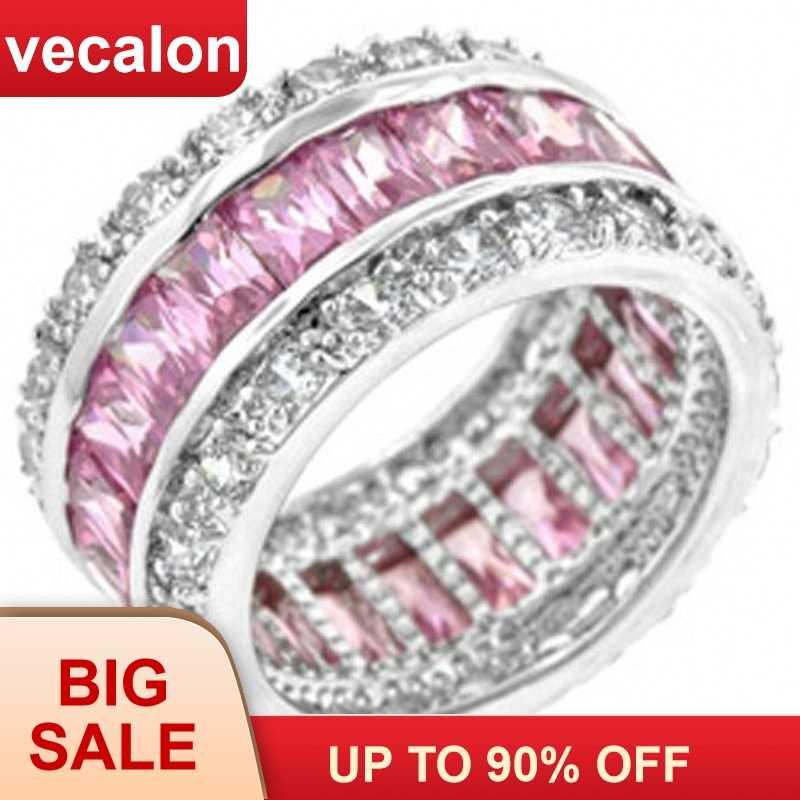 Vecalon 925 Sterling Silve cưới, Ban Nhạc cho Nữ, Nhẫn Nữ Thời Trang Vòng Trang Sức Công Chúa cắt đá Hồng CZ Nhẫn