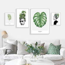 Girl Plant Canvas Nordic Decoration Painting Abstract Watercolor Green Leaf Wall Art Pictures Living Room Unframed