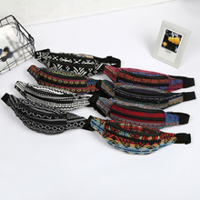 Women Fanny Waist Belts Bag Pack 8 Colors 2 Pocket Fabric Bohemian Style Striped Vintage Harajuku Canvas Packs