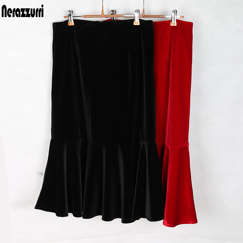 Nerazzurri High Waist Velvet Skirt Women 2019 Black Red Midi Skirt Plus Size 4xl 5xl 6xl Elegant Tight Long Warm Mermaid Skirt