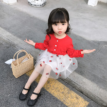 Brand 2019 new summer dress baby Girls cute clothes Cartoon Princess Strawberry Mesh Dresses Fashion Lace Party Dress