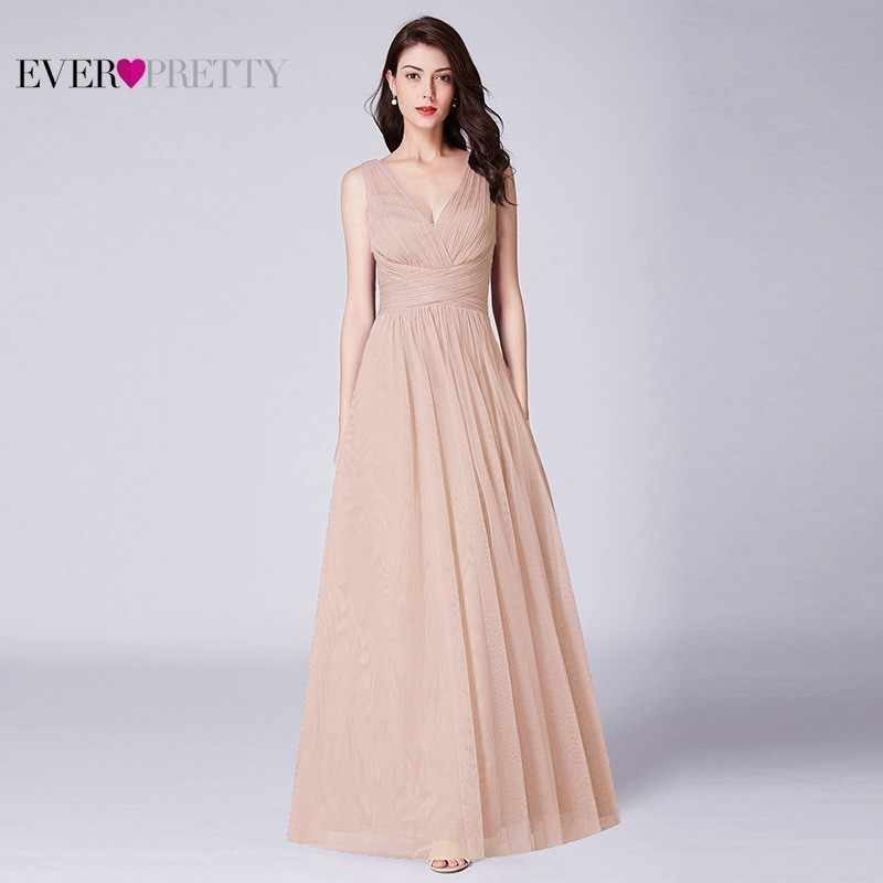 ארוך שושבינה שמלות אי פעם די אונליין צווארון V שרוולים פורמליות חתונת אורחים שמלות 2019 חלוק עלמת D'honneur רוז'