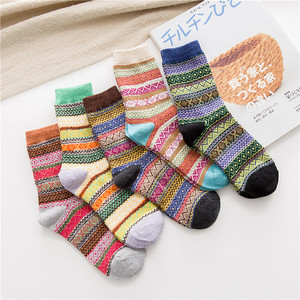 Image 1 - Winter New Products Warm Thicken National Wind Womens Wool Medium Tube  Socks Factory Wholesale 5 Pairs