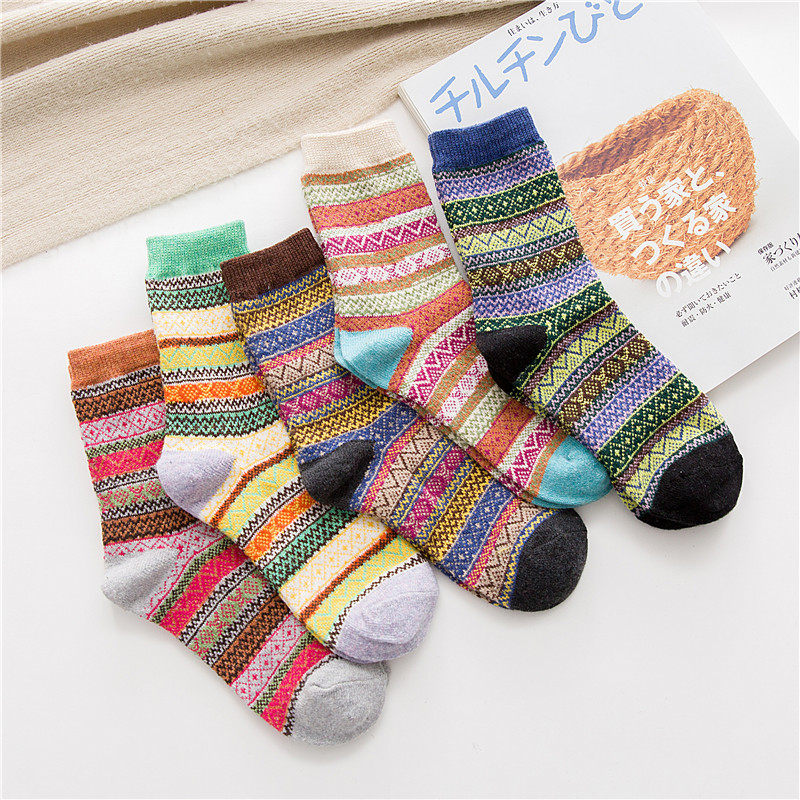 Winter New Products Warm Thicken National Wind Women's Wool Socks Medium Tube Rabbit Wool Socks Factory Wholesale 5 pairs-in Socks from Underwear & Sleepwears