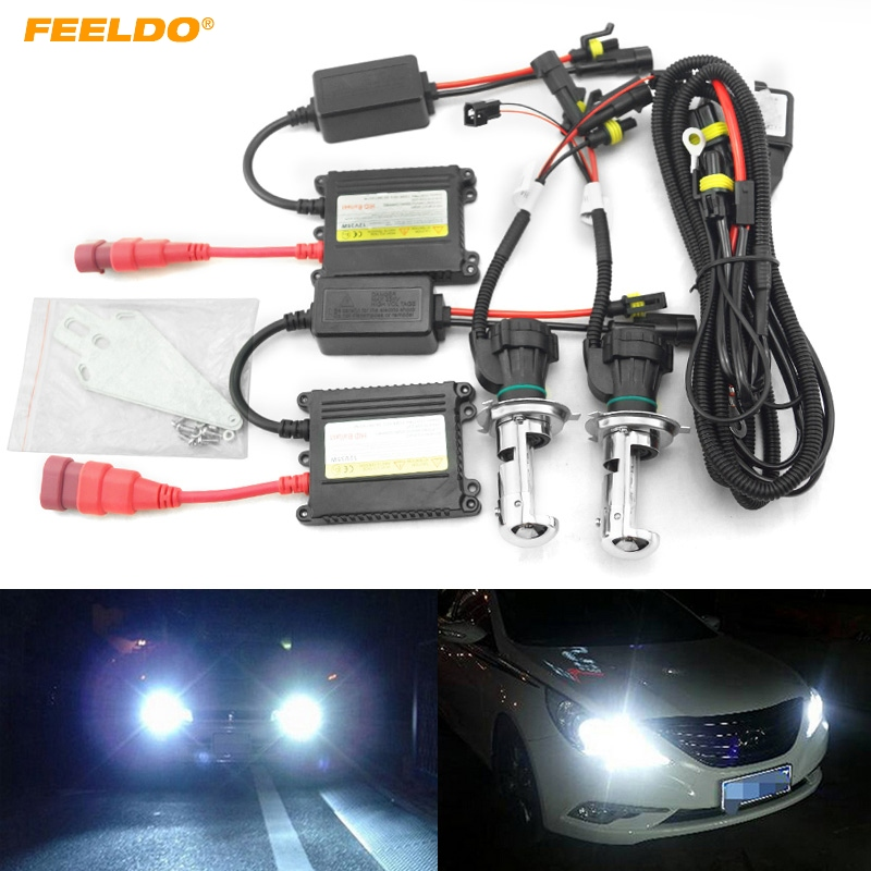 FEELDO 1 Set 35 W DC12V voiture phare H4 xénon ampoule Hi/Lo faisceau bi-xénon ampoule lumière mince Ballast HID Kit # AM4481