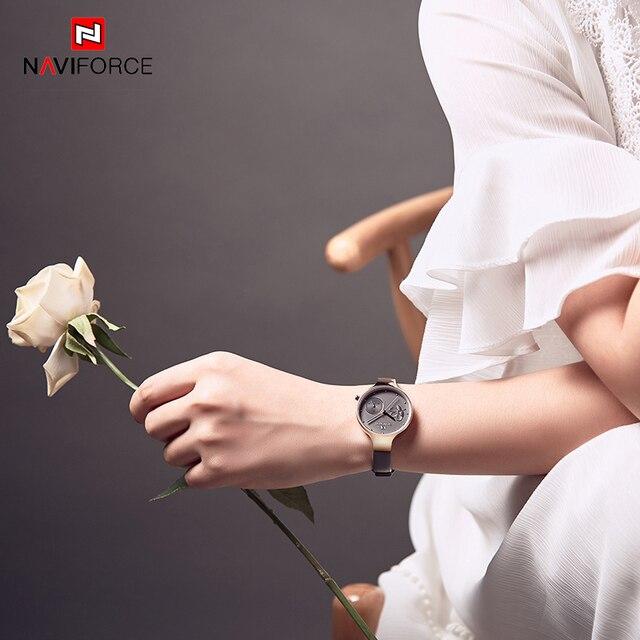 NAVIFORCE di Modo Del Braccialetto Delle Donne Orologi Top Brand di Lusso del Quarzo Delle Signore In Oro Rosa Orologi Da Polso Orologio Per Gli Amanti Relogio Feminino