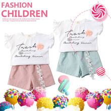 Girls Clothing Sets New Summer Cotton Tops+Shorts Children Sets Casual Fashion Girls Clothes Suit недорого