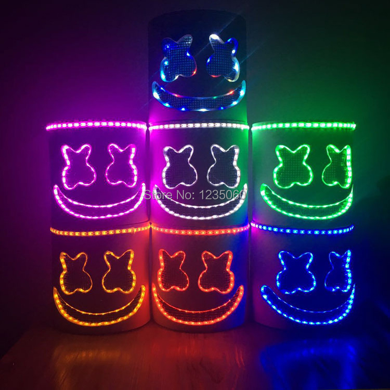 LED Mask DJ MarshMello Full Head Helmet Halloween Easter Cosplay Bar Music Prop