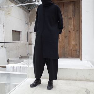 Image 3 - [EAM] 2020 New Spring Autumn High Collar Long Sleeve Black Irregular Stitch Big Size Long Knitting Sweater Women Fashion JL734
