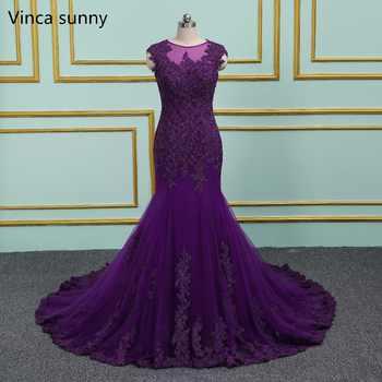 Purple Evening Dresses Long Mermaid 2019 Elegant Sheer Scoop Formal Gown vestido de noiva Long Prom dress Plus Size - DISCOUNT ITEM  33% OFF All Category