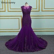 Purple Evening Dresses Long Mermaid 2020 Elegant Sheer Scoop Formal Gown vestido de noiva Long Prom dress Plus Size