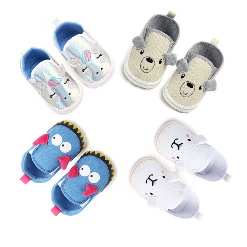 Newborn Baby Boy Girl Shoes Cute Animal Print Soft Sole Canvas Crib Shoes Infant Toddler Baby Anti-slip Sneaker Prewalker 0-18M