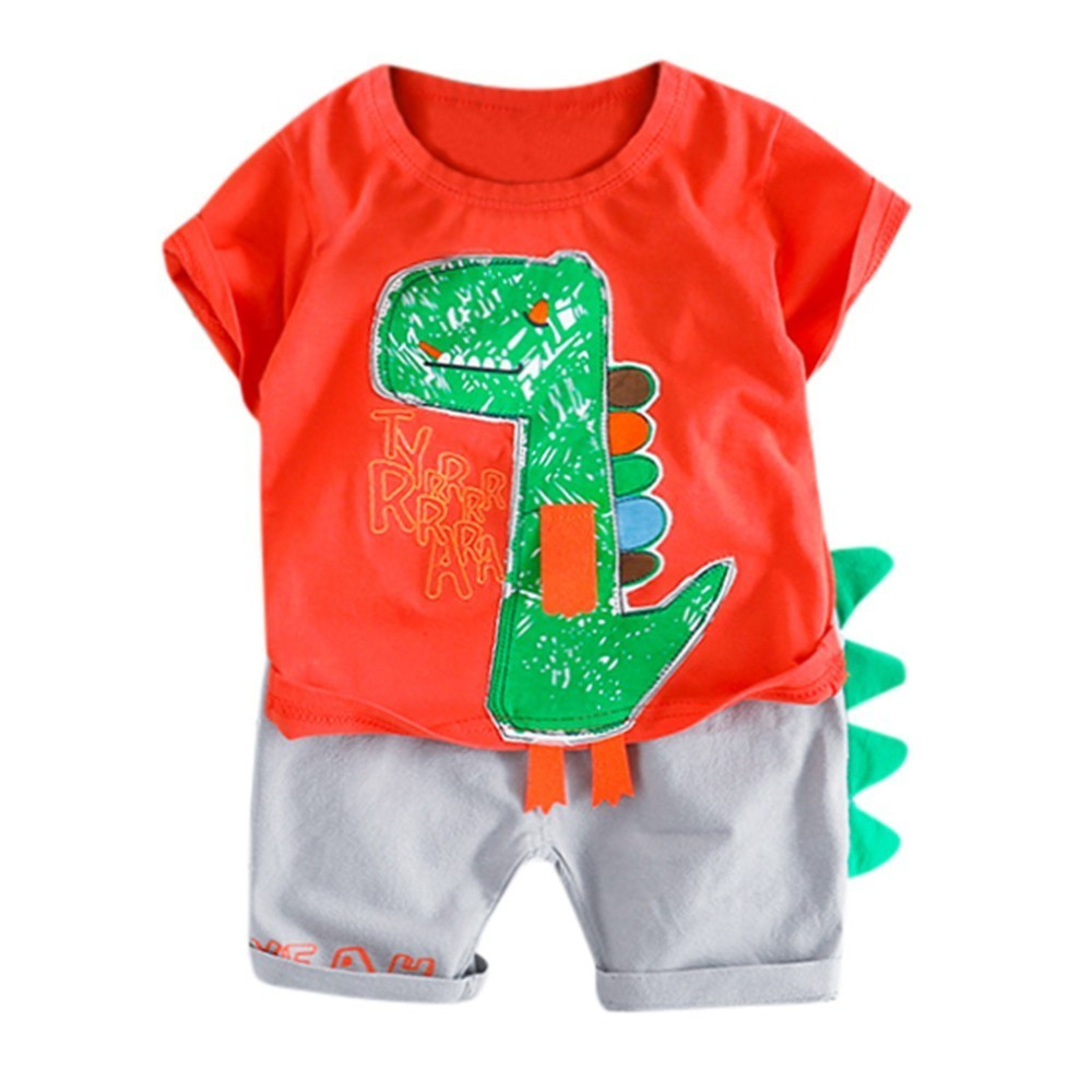 Toddler Baby Boy Short Sleeve Ant Print Tops T-Shirt Dot Pants Outfits Set