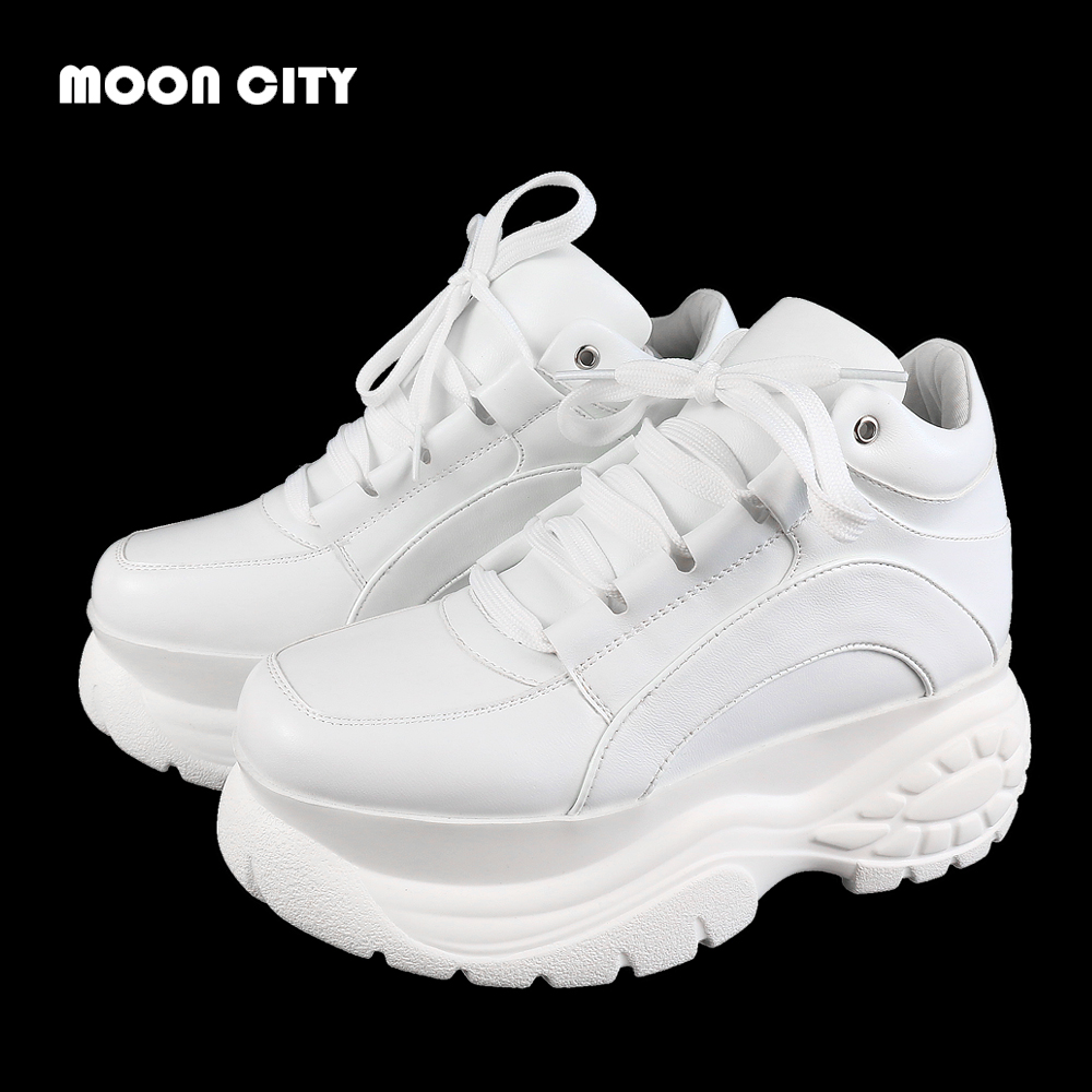 women sneakers 2019 Fashion Whiter Platform Sneakers Ladies Brand Chunky Causal Shoes Woman Leather Sports Shoes Chaussure Femme(China)