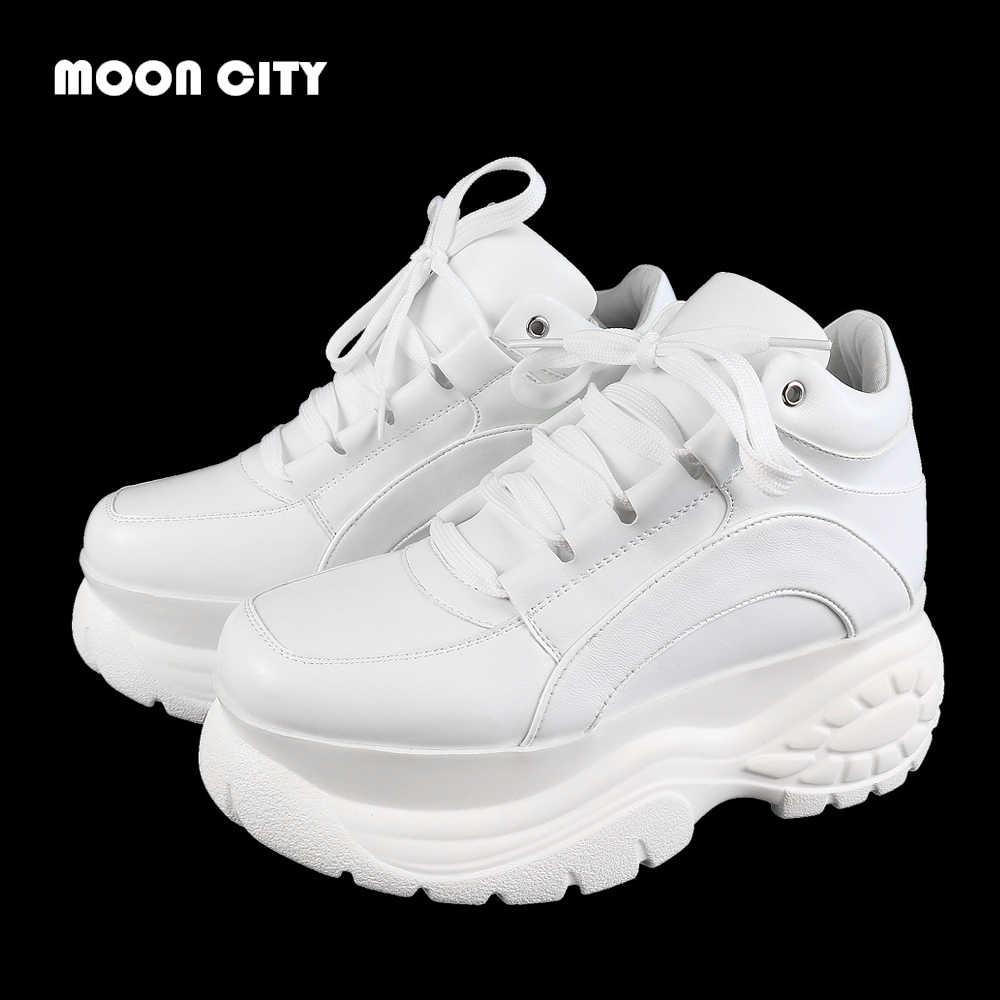 5431e7409 Подробнее Обратная связь Вопросы о Женские кроссовки 2019 модные белые  кроссовки на платформе женская брендовая массивная Женская обувь в  повседневном стиле ...
