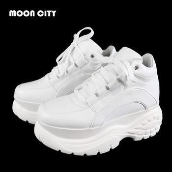 2019 Nieuwe Mode Witter Platform Sneakers Lente Dames Causale Schoenen Vrouw Lederen Platform Schoenen Vrouwen Sneakers Chaussure Femme