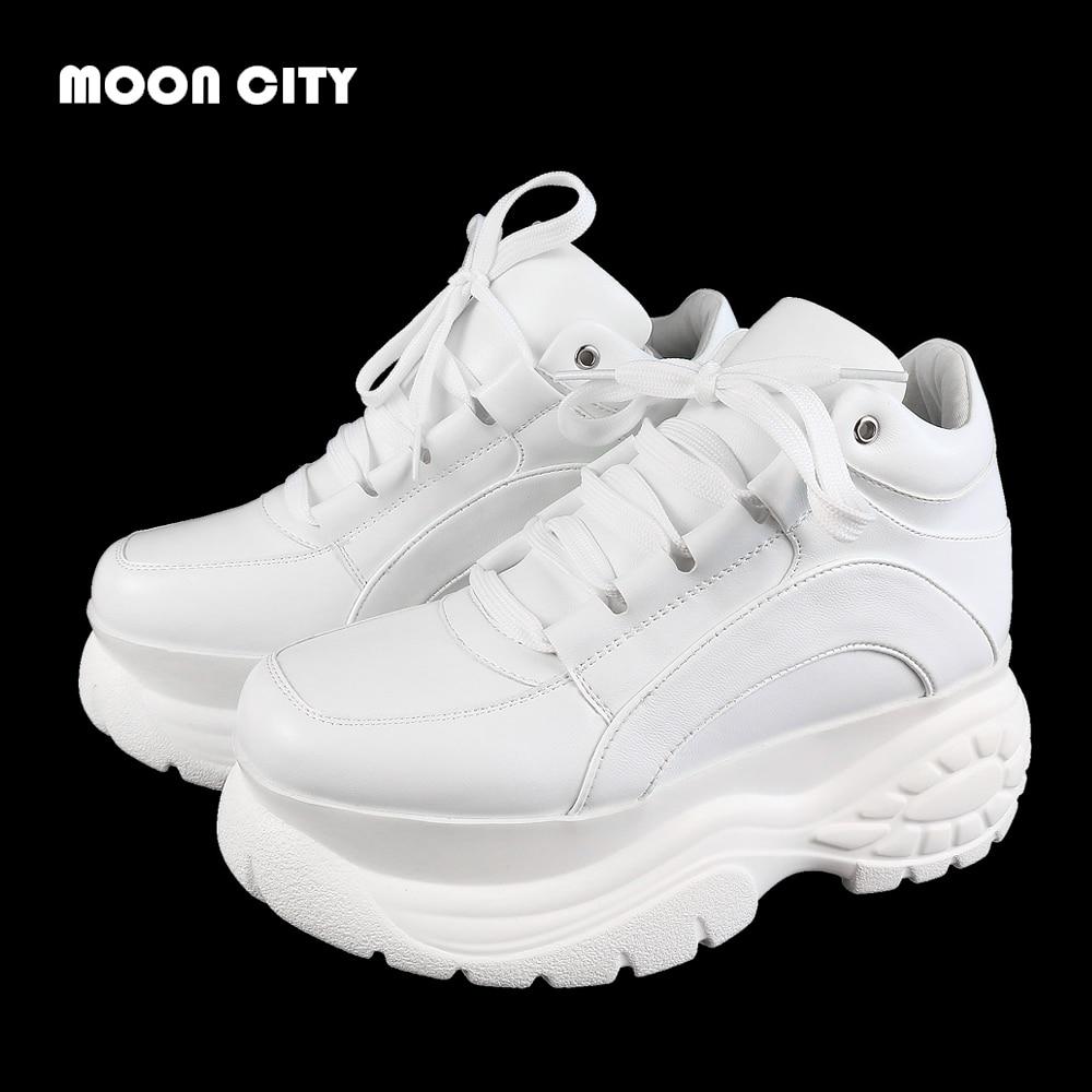 a7d6148bb3bb16 2019 новые модные белые кроссовки на платформе весенние женские Женская  обувь в повседневном стиле кожаные туфли