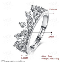 18K White Gold Princess Queen Crown Engagement Rings Clear CZ for Women Wedding Jewelry Bizuteria Gemstone