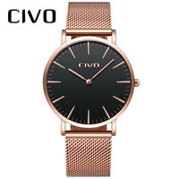 CIVO Men's Simple Ultra Thin 6 MM Wrist Watches Waterproof Date Quartz Watch Stainless Steel Mesh Strap Unisex Watch Women Clock