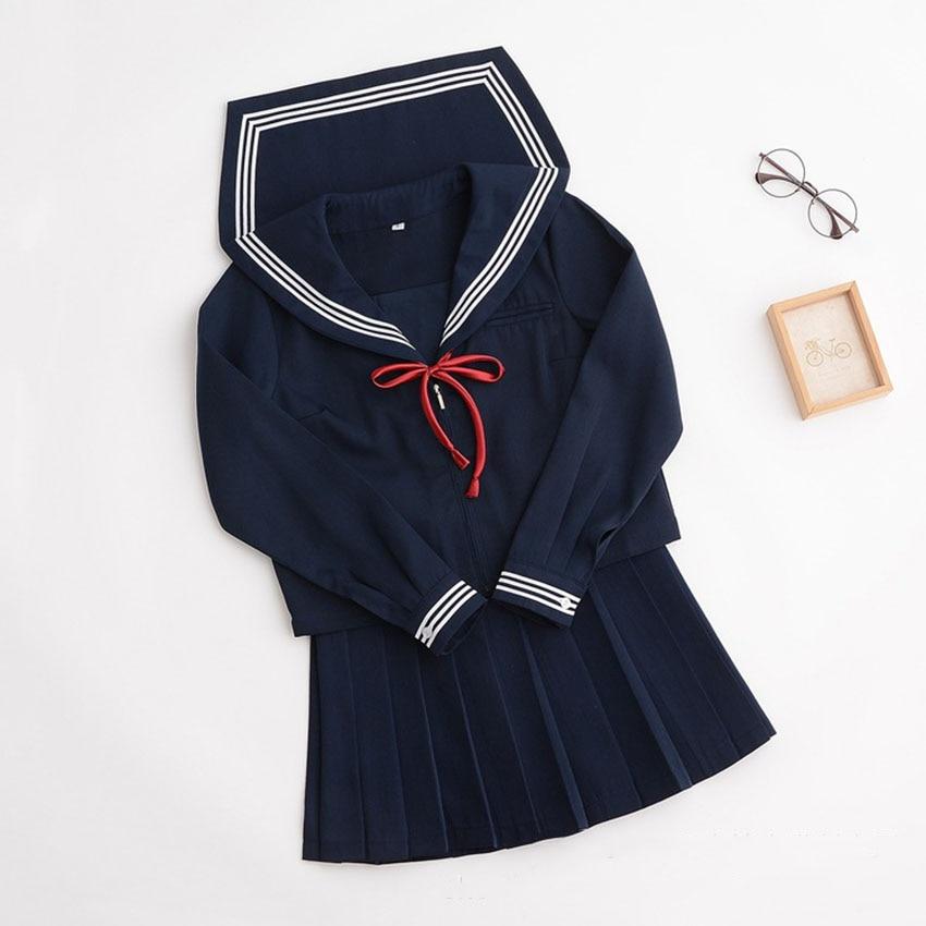 School Uniform for Girls Japanese Style Skirts Sailor Suit Jk Beautiful Girl Korean Navy Tie Pleated  Kawaii Costumes Collar