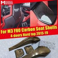 4 pcs F80 Seat Shells Cover Carbon Gloss Black Seat Back Covers For BMW M3 F80 4 doors Hard top Seat Shells 420i 430i 435i 15 19