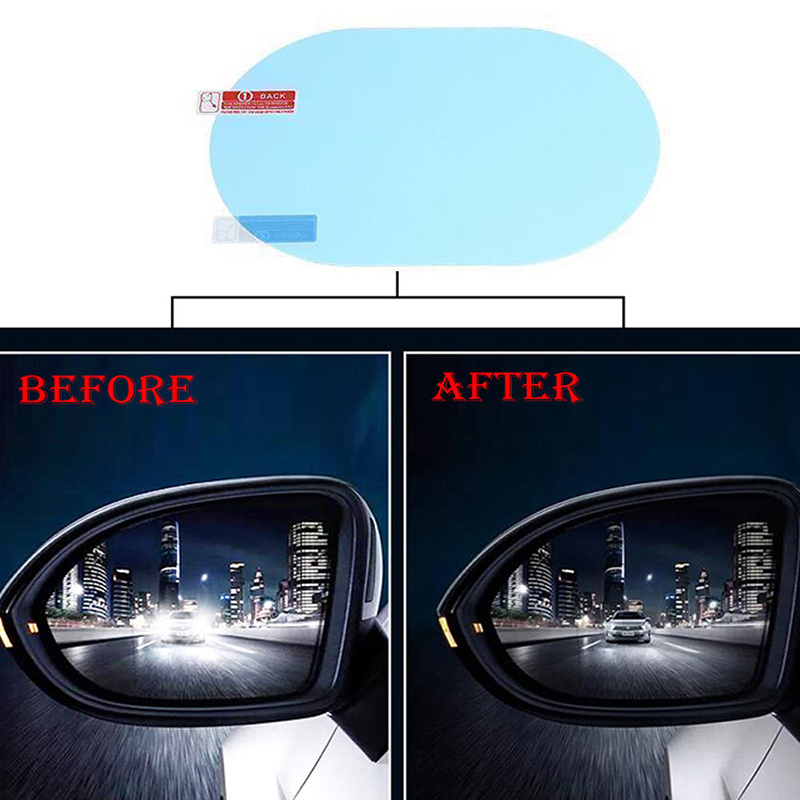 2 Pcs Car Anti Water Mist Anti-fog Rainproof Rearview Mirror Protective Films