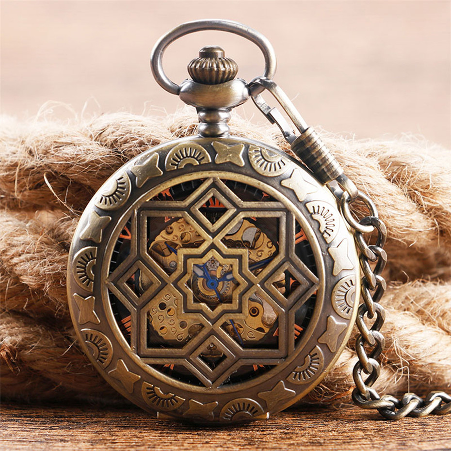 Vintage Hollow Half Hunter Pocket Watch Mechanical Hand Winding Exquisite Pocket Pendant Watch Gifts For Men Women With Chain
