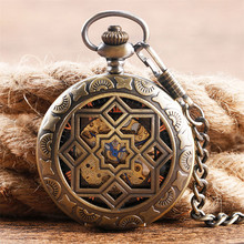 цена на Vintage Hollow Half Hunter Pocket Watch Mechanical Hand Winding Exquisite Pocket Pendant Watch Gifts for Men Women with Chain