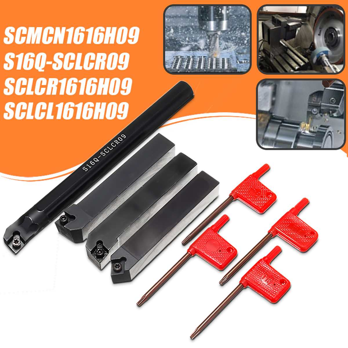 4 Set 16mm SCLCR Lathe Turning Tool Holder Boring Bar +4 pcs T15 Wrenches S16Q-SCLCR09/SCLCR1616H09/SCLCL1616H09/SCMCN1616H094 Set 16mm SCLCR Lathe Turning Tool Holder Boring Bar +4 pcs T15 Wrenches S16Q-SCLCR09/SCLCR1616H09/SCLCL1616H09/SCMCN1616H09