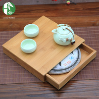 Square Wooden Puer Tea Storage Box Gift Bamboo Tray Container For Bulk Products Container Kitchen Organizer Chest Jewelry Case