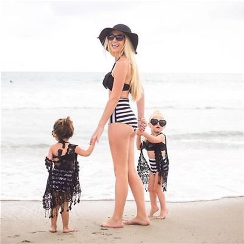 Mother Girls Matching Two-piece Halter Swimsuit Little Girl Women Palm Leaves Stripes Swimwear Bandeaukini Swimsuit Bikini Set
