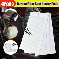 12V 2 Seats 4 Pads Universal Carbon Fiber Heated Seat Heater heating 12V Pads 2 Dial 5 Level Switch Winter Warmer Seat Covers