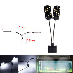 AC220V 15 W oświetlenie LED do akwarium klip na podwójne lampy świeże rośliny wodne oświetlenie LED do rosnącej zieleni akwarium do zbiorników ryb ue wtyczka w Lampy podwodne LED od Lampy i oświetlenie na