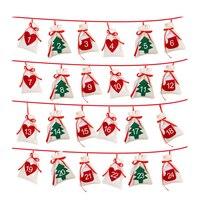 Хлопок Рождественский Адвент-календарь гирлянды 24 шт 11x16 см висит Адвент-календарь подарочные пакеты Новый год 2019 Семейный календарь