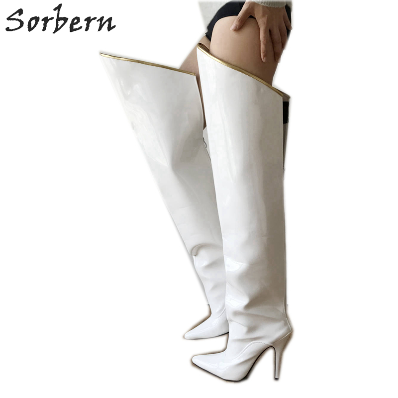 Sorbern 12Cm Stiletto Hard Shaft Over The Knee Boots Women Custom Color Gold Piping Mid-Thigh Boot Patent White Fetish High HeelSorbern 12Cm Stiletto Hard Shaft Over The Knee Boots Women Custom Color Gold Piping Mid-Thigh Boot Patent White Fetish High Heel