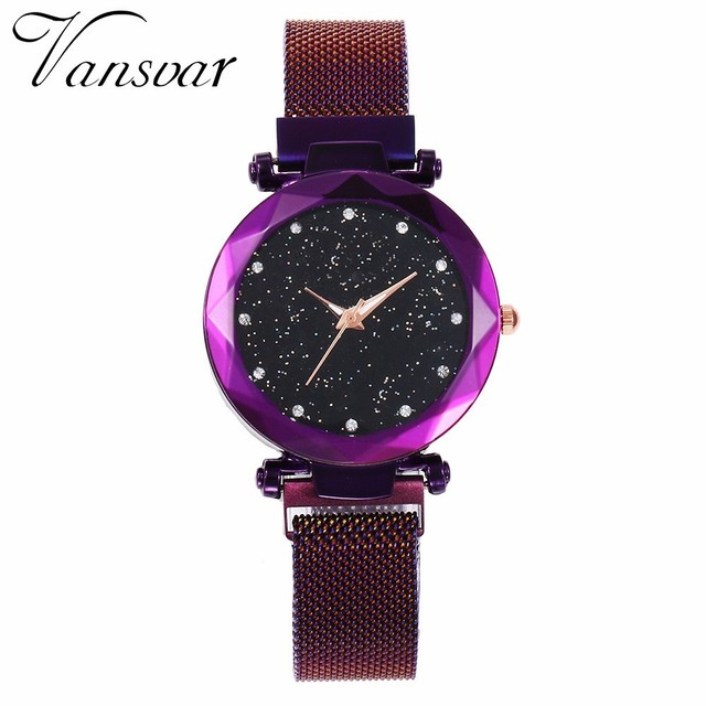 Best Selling Women Mesh Magnet Buckle Starry Sky Watch Casual Luxury Women Geometric Surface Quartz Watches Relogio Feminino 2