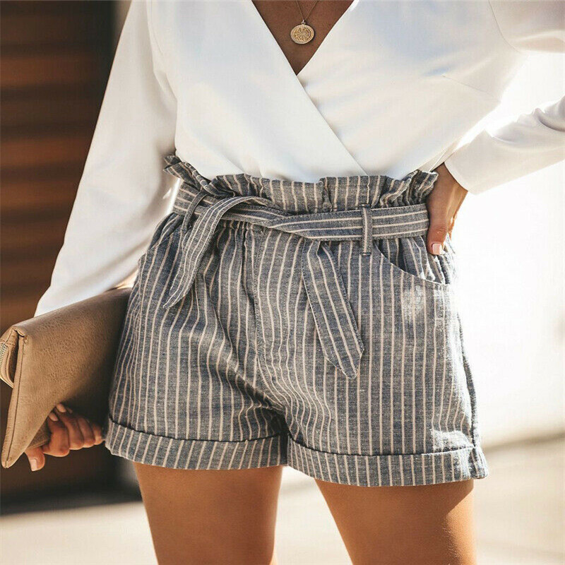 Trendy Women clothes Bandage pocket slim casual Striped cotton High Waist Mini Hot Shorts one pieces