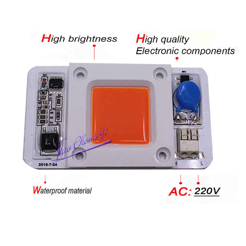 50W Hight Powr Grwoth COB LED AC-220V 110V  No need driver Full Spectrum 380-840nm/white/Natural White/warm white